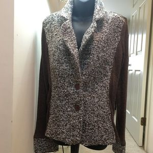NWT Cute Light Bouclé Jacket w/ Cotton Sleeves L